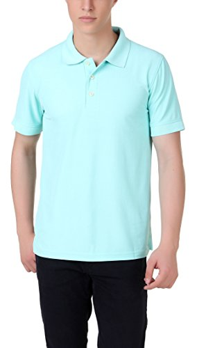 American Crew Men's Polyester Polo T-Shirt (AC138A-L_Aruba Blue_Large)