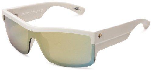 Electric Shotglass Rectangular Sunglasses,Gloss White Frame/Bronze with Gold Chrome Lens,one size