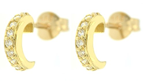 ERCE Hoop Earrings with Cubic Circonia, 14 ct. Gold 585, Length 8 mm, in Gift Box