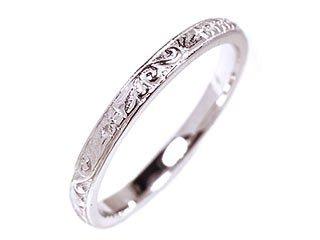 14k White Gold Hand Engraved Wedding Band Size 6.25