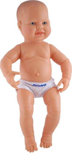 Miniland 15.75'' Anatomically Correct Newborn Baby Doll, Caucasian Boy front-853728