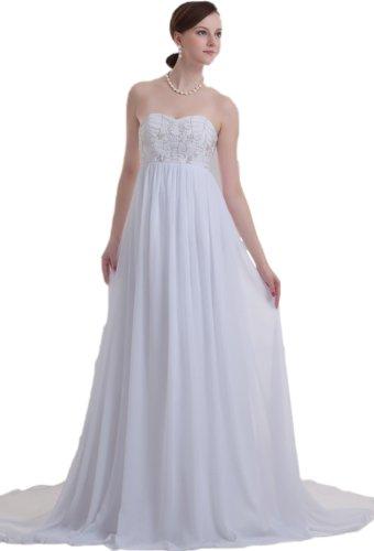 Albizia Women's Embroidery Bead Chiffon Wedding Maternitry Bridal Dresses(8