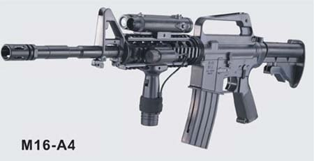 M16-A4 Airsoft Rifle with LED illuminator, laser sight &#038; adjustable gun stock