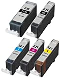 Canon CLI-221 Compatible Ink Cartridge 5-Pack Value Bundle