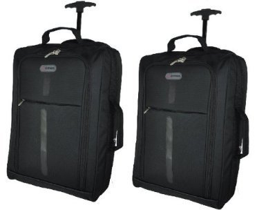 Cities® Set of 2 Lightweight Hand Luggage Travel Holdall Baggage Wheely Suitcase Cabin Approved Bag Ryanair Easyjet And Many More - 1.4k - 40 Litres (Black/Grey)