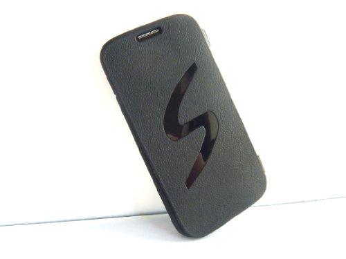 GALAXY S4 ギャラクシー S デザイン フリップ カバー ケース ( docomo GALAXY S4 SC-04E / Samsung Galaxy S IV 2013年モデル 対応) Flip Cover Case 画面保護 ソフトタイプ  Black(黒)