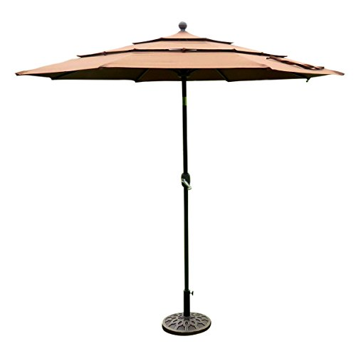 Deluxe 10' Round Three Tier 3 Level Solution Dyed Fabric Patio Outdoor Tilt Umbrella Beach Hut Parasol - Beige. Great for Backyard, Restaurants and Cafes (Delta Downs Hotel compare prices)