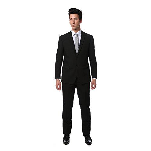 34S Mens 2Pc 2 Button Slim Fit Black Paul Lorenzo Suit
