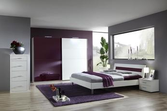Chambre adulte complète design LIVIA, coloris bordeaux et ...