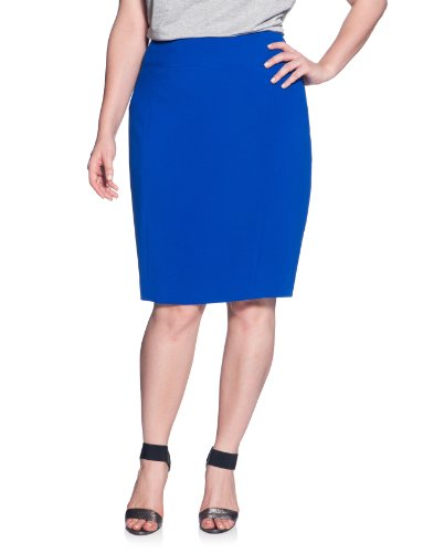 eloquii Pieced Front Pencil Skirt Cobalt Blue 20W Image