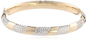 Bonded Sterling Silver and 14k Yellow Gold Candy Cane Bangle Bracelet