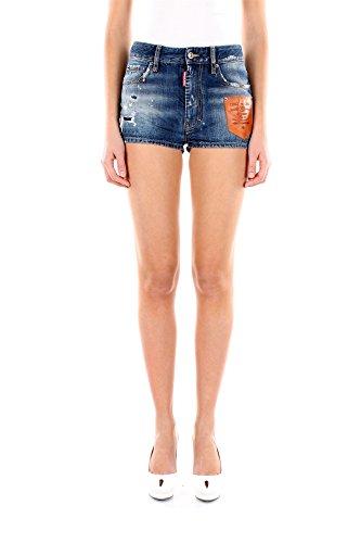 S72MU0200S30309470-Dsquared2-Shorts-Femme-Coton-Bleu