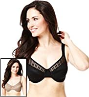 2 Pack Trellis Striped Assorted Underwired Minimiser C-GG Bras