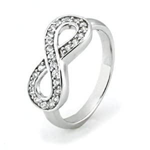 925 Sterling Silver Cubic Zirconia Infinity Symbol CZ Wedding Band Ring, Nickel Free Sz 9 from Metal Factory
