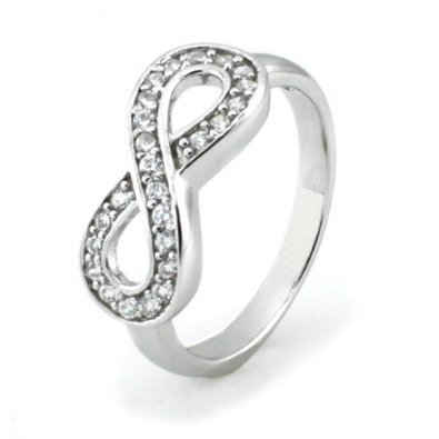 Sz 8 Sterling Silver Cubic Zirconia Infinity Symbol CZ Wedding Band Ring (Best Friends Rings compare prices)