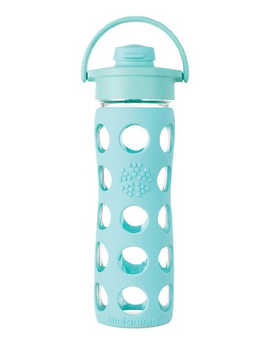 Lifefactory 16-Ounce Glass Beverage Bottle with Flip Top Cap, Turquoise
