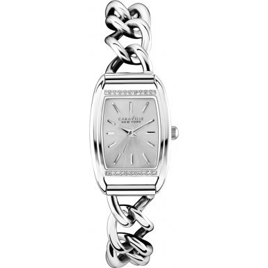 Caravelle New York Womens Ladies Caravelle 43L169 Ladies Stainless Steel Chain Link Bracelet Wrist Watch