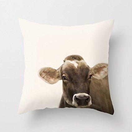 Süße Kuh Überwurf Kissen Kissenbezüge Leinwand Home Decor Kissen 18x 18Für Sofa