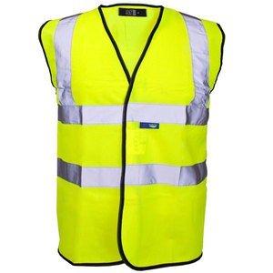 Guilty Gadgets ® - Yellow Hi Vis High Viz Visibility Vest Waistcoat Jacket Safety En471 Standard Work Size M Medium