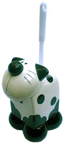 Ceramic Black & White Kitty Cat Themed Toilet Bowl Cleaning Brush Decorative Set