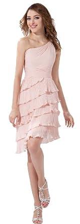 herafa p31068-2 Robes De Bal Style Romantique Col asymétrique Sans manche Flouncing mini A-Ligne Rose