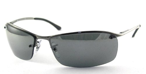 Ray Ban Sunglasses RB 3183 Top Bar 004/6G Gunmetal/Grey Silver Mirror, 63mm