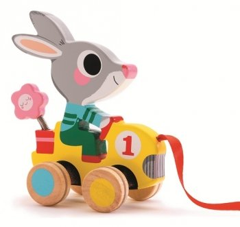 Djeco / Roulapic Wooden Rabbit Racer Pull Toy