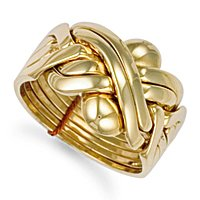 Jewelco London 9ct Solid gold hand assembled 6 Piece Puzzle Ring,Size M
