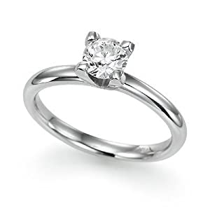 Round Diamond Solitaire Engagement Ring in Sterling Silver - Size 7