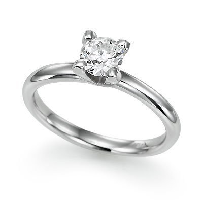 Round Diamond Solitaire Engagement Ring in Sterling Silver &#8211; Size 7
