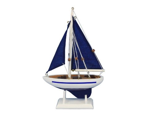"""Handcrafted Nautical Decor Pacific Sailer Blue/Blue Sails 9"""" Handcrafted Model Ship, Fully Assembled (Not A Kit)"""