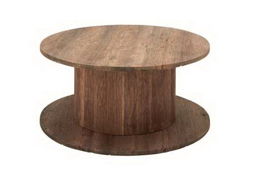 Woodland 37760 Electrical Cable Reel Shaped Industrial Round Coffee Table
