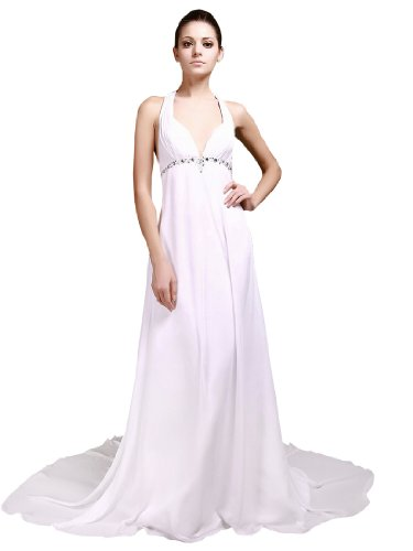 Topwedding Halter Beaded Chiffon Empire Wedding Dress, S2, Ivory