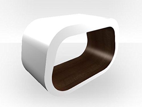 Esterno Squoval Tavolino da caffè, colore: bianco noce laccato