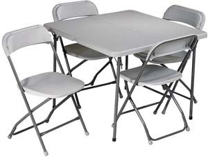 5 Piece Folding Set (Consists of 4 Folding Chairs and 36 x 36 Fold in Half Table)