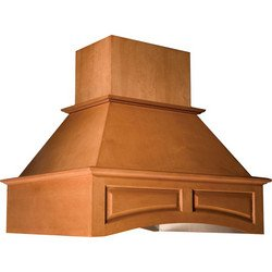 Omega National 48 Inch Island Wooden Range Hood, Arched Valence, Unfinished, Red Oak, 250-1500 Cfm