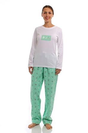 Noble Mount Womens Premium 100% Cotton Flannel/Knit Sleepwear Set - Boat Green - X-Large