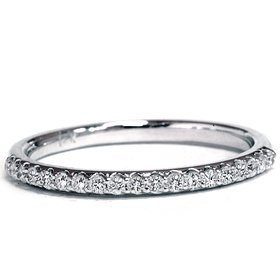 Pompeii3 Inc. GENIUNE DIAMOND RING .20CT HALF ETERNITY PRONG SET WEDDING BAND 14K WHITE GOLD