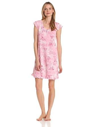 Karen Neuburger Women's Fly With Me Short Sleeve Henley Nightshirt, Novelty Rose, Large