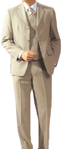 MUGA mens Suit + Waistcoat, Beige, size 50L (EU 114)