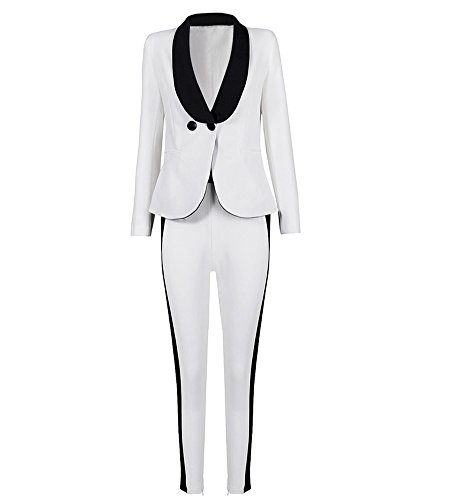Hego Women's 2016 New Fashion White Black Double Breasted Pant Suits H1475 (L ,Multi ) (Cocktail Pant Suits compare prices)