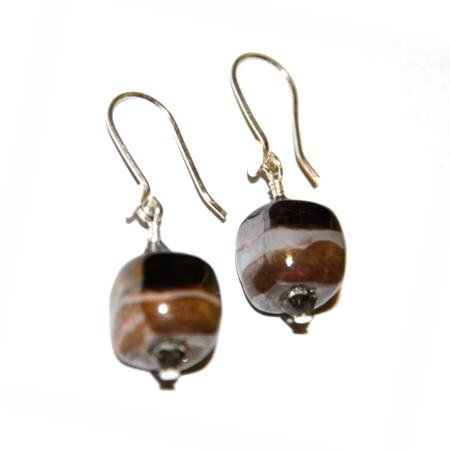 Kazuri Earrings - Dove Grey and Antique Gold and Sterling Silver
