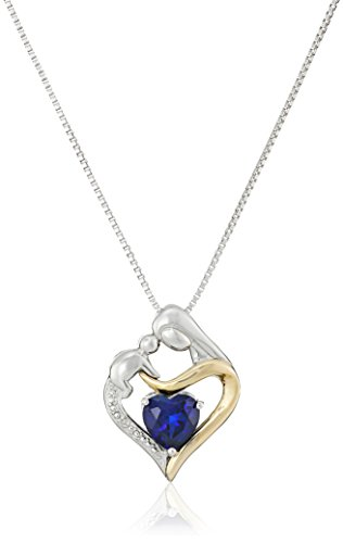 Sterling Silver and 14k Yellow Gold Heart Mother's Jewel Created Blue Sapphire and Diamond Accent Pendant Necklace, 18""