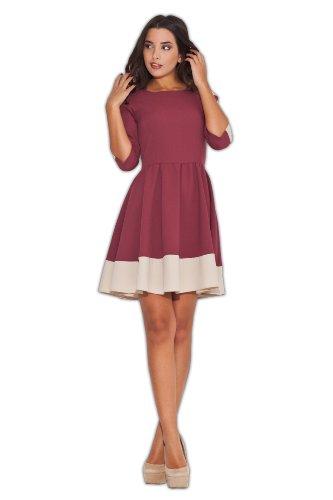 Katrus Glockiges kurzes Kleid mit langen Ärmeln Weinrot
