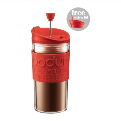 BODUM TRAVEL PRESS Coffee/Tea maker with extra lid, 0.35 l, 12 oz - Red