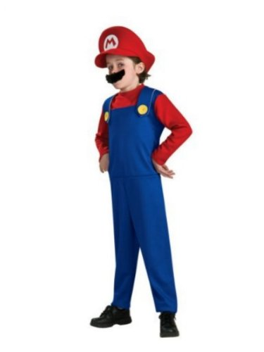 Rubie's Costume Co Boys Mario Costume with Hat Super Mario Brothers