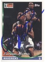 Lucious Harris Dallas Mavericks 1994 Topps 1st Round NBA Draft Autographed Hand... by Hall of Fame Memorabilia