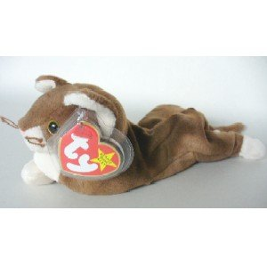 TY Beanie Babies Pounce the Cat Stuffed Animal Plush Toy - 6 1/2 inches long - Brown - 1