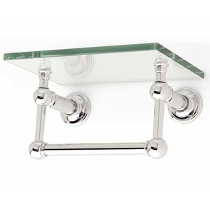 Ginger 4519T 9 SN Columnar 9 Inch Shelf With Towel Bar Satin Nickel Mounte