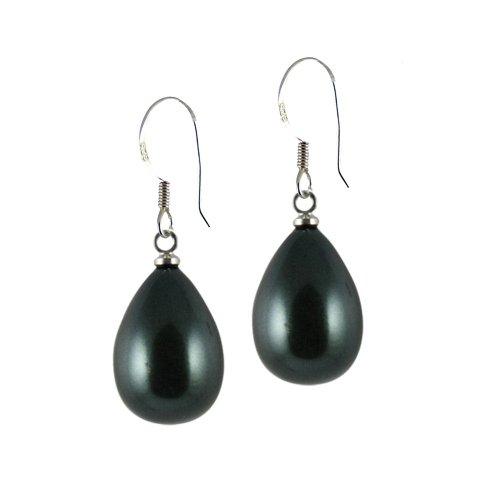 Raindrop Tahitian Pearl Sterling Silver Drop Pierced Earrings